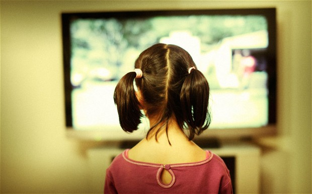 girl watching TV
