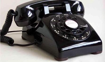 Black and white rotary phone